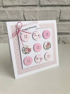 Handmade Button Birthday Card Various Colours