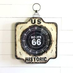 Metal Route 66 Road Sign Wall Clock