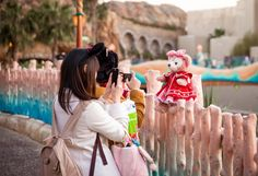 """Photographing Duffy in various spots around Tokyo DisneySea is incredibly popular. So much so that there are these fold-out """"Duffy Photo Points"""" throughout the park. Duffy The Disney Bear, Tokyo Disneysea, Disney Tourist Blog, Tokyo Disneyland, Consumer Products, Walt Disney World, Friends, Popular, Park"""