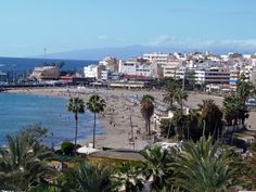 View of the beach at Los Cristianos, Tenerife Tenerife, Places Ive Been, Places To Go, Places In Spain, Holiday Places, Canary Islands, Dolores Park, World, Beach