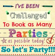 I have been challenged to get as many parties as  I can. Ask me how at www.rebecca.scentsy.com.au