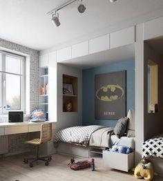chambre 2-garçons à thème super-héros avec posters Batman et Superman