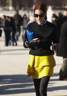 I can't resist a structured yellow skirt on an all black outfit