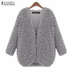 Zanzea nữ áo khoác 2017 mùa thu đông áo khoác phụ nữ thời trang vintage dài tay áo mềm ấm rắn áo khoác cardigan cộng với kích thước