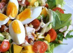 salade met gerookte kip avocado en mango