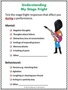 Music lessons for kids,,,,This is a 26 page PDF file focusing on Performance Anxiety or Stage Fright. Information and student response sheets. ♫ CLICK through to read more or save for later! Music Lessons For Kids, Singing Lessons, Singing Tips, Piano Lessons, Piano Teaching, Learning Piano, Music Worksheets, Music Classroom, Classroom Resources