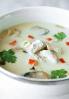 Tom ka kai   http://www.food.com/recipe/tom-ka-kai-thai-coconut-chicken-soup-303281/photo