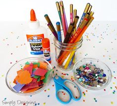 Arts and Crafts Table: Fun Activities for Kids at a Party #wedding #party #kids