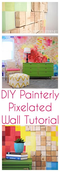 DIY Painterly Pixelated Wall Tutorial - www.classyclutter.net