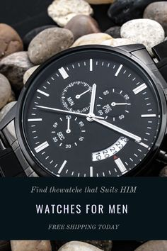 """This men watches luxury, is perfect for your mens clothing styles. A personalized gift that can withstand constant use, this """"Customized Black Chronograph Watch"""" is the perfect gift for all the special men in your life. From a thoughtful groomsmen gift, an anniversary memento, or a long-lasting keepsake for Father's Day #watches #watchesformen #watchesformenaffordable #watchesformenluxury #watchesformengift #watchesformenblack #watchesformenunique #watchesformenmilitary #watchesformenphotography Thoughtful Gifts For Him, Diy Gifts For Him, Valentines Gifts For Him, Birthday Gift For Him, Gifts For Teens, Surprise Boyfriend, Boyfriend Gifts, Christian Music, Christian Gifts"""