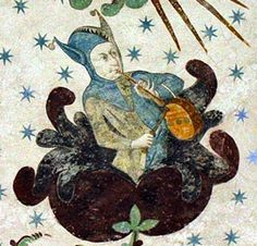Act III scene ii Ariel plays the tune on pipe and tabor.  [Pipe and tabor were two instruments played simultaneously by one person. ~fresco by Albert Malare c.1460-