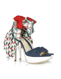 Multicolor Foulard and Nappa Leather Sandal - Red, white and green foulards embellish rich blue nappa leather to create a bright summer style that can be worn tied any way you like. Signature box included. Made in Italy.