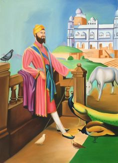 Guru Gobind Singh Sikh Punjab Art Handmade Indian Ethnic Oil Canvas Painting. Presenting an extremely fine and detailed work of art depicting the tenth Guru of Sikhism – Guru Gobind Singh.