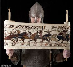 18 years to embroider scale copy of Bayeau Tapestry. A member of a historical re-enactment group, Mr Wilkinson originally intended the scroll to decorate the inside of a tent until it got too big when he kept sewing his version of the 1066 battle