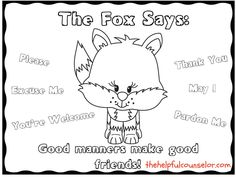 Manners Matter: What Does the Fox Say Coloring Page Freebie and Activity Pack | The Helpful Counselor
