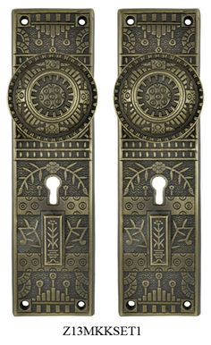 Windsor-Pattern-Door-Plate-set-with-Locking-Keyed- & Victorian Vintage Door Hardware Reproduction Windsor Pattern Entry ...