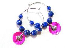 Créoles Bleues, Nacre Rose, Perles Lapis Lazuli, Créoles Fantaisie Bleues, Pierres Gemmes Bleues, Breloque  Argent, Sequins de Nacre Rose de la boutique LaFabriqueDeLoulette sur Etsy
