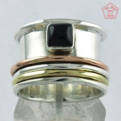 Black Onyx Stone 925 STERLING SILVER SPINNER RING JEWELRY S.6.5 US R3867 #SilvexImagesIndiaPvtLtd #Spinner