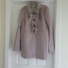 FLASH SALE J crew ruffle front peacoat J crew ruffle front peacoat, a rose/grey color. Very gently used! J. Crew Jackets & Coats Pea Coats