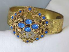 Signed Coro Blue Rhinestone Retro Hinged Bangle Bracelet
