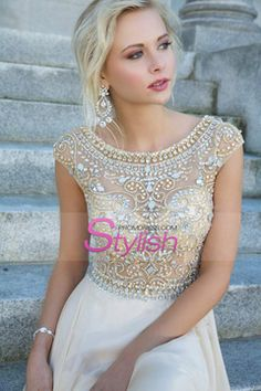 So Crystal Beading Evening Dresses Cap Sleeves Chiffon Floor Length Evening Gowns For ME! Homecoming,Celebrity Dresses,Open Back Prom Dresses,Champagne evening dresses Elegant Prom Dresses, Prom Dresses With Sleeves, Pretty Dresses, Beautiful Dresses, Wedding Dresses, Dress Prom, Gorgeous Dress, Lace Wedding, Pageant Gowns