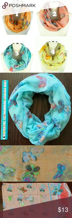 Butterfly Infinity Scarf Butterfly printed, 1-4 colors Super soft cute for everyday look AFB Accessories Scarves & Wraps