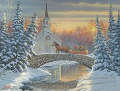 Sam Timm ~ winter ~ church ~ horse-drawn sleigh ~ cobblestone bridge