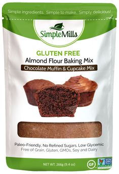 Simple Mills Chocolate Almond Flour Muffin/Cupcake Mix | Grain-Free, Egg-Free Options. Used yolk & 1/2 flax egg. Bake at 350 for longer. They're delicious!