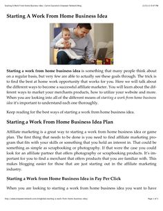 starting-a-work-from-home-business-idea by Carrie Giaconia via Slideshare Work From Home Business, Let's Have Fun, Document Sharing, Make More Money, Carrie, Marketing, Check, Free