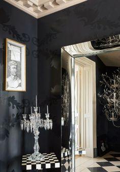 Patricia Kaas apartment in Paris with black walls.