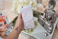"""Love my marble cell phone case! Beautiful protective white and rose chrome marble iPhone phone case with scratch resistant matte finish. The perfect smartphone mobile device fashion accessory and gift idea for girls, women and teens. Get yours at CASES A LA MODE! #phone #accessories #iphonecase #iphone7plus #gifts #giftideas #marble #mobile #smartphone #pastel #fashiongoals #styleinspiration """"Completely obsessed with my marble case!"""" (from 976 five star customer reviews)"""