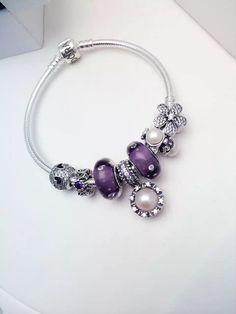 50% OFF!!! $199 Pandora Charm Bracelet Purple White Flower Christmas Specials 2015. Hot Sale!!! SKU: CB01676 - PANDORA Bracelet Ideas