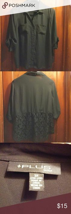 +Plus Moda brand button down blouse NWOT +Plus Mods brand black button down blouse. Has full length sleeves with roll tabs to convert it to 3/4s. Has lace on bottom half of back. 100% polyester. Size 3X,22-24 plus. Never worn. NWOT +Plus Moda Tops Blouses