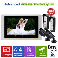 """Homefong Door Video Camera  HD Door Phone Home Intercom Video 2  Doorbell Camera Panel 2 CCTV Camera and  10""""TFT Indoor Monitor"""
