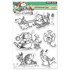 New Penny Black CHRISTMAS JOY Clear Stamps Winter Cat Sled Dog Mice Bird Present