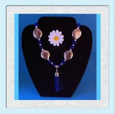 https://www.etsy.com/shop/MoggysMall  #blue, #white, #silver, #crackle, #beads, #necklace, #tassel, #charm, #jewellery, #hippy, #boho