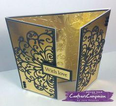 Gatefold cardmade using Crafter's Companion Die'sire Decorative Create-a-Card die - Elizabeth. Designed by Jane Royston #crafterscompanion