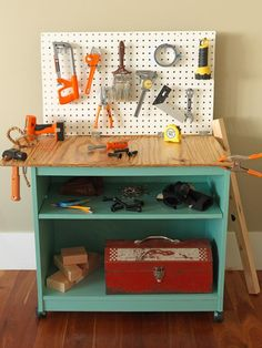 How To Turn Old Furniture Into a Kids' Toy Workbench: Sand the work surface smooth and round the corners. Apply three coats of polyurethane letting it dry in between coats. Add toys and have fun.  From DIYnetwork.com