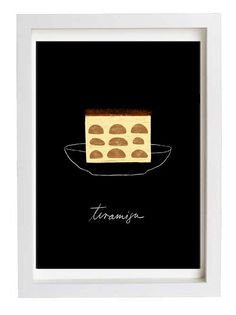 Black Dessert Illustration Tiramisu Kitchen Wall Art 11x15 by anek
