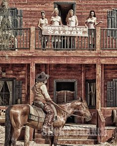 "Old West - ""The Women"" - Vintage. Like ""Unforgiven"", 1992 Cowgirl And Horse, Cowboy Art, Westerns, Western Saloon, Western Cowboy, Old West Town, Cowboy Pictures, West Art, Ecole Art"