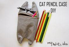 rainbowsandunicornscrafts:  DIY Felt Cat Pencil Bag Tutorial from My White Idea. Here's another DIY idea from Gedane.