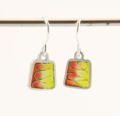 Yellow and red silver plique a jour enamel, stained glass earrings, square drop. by imogenhose on Etsy