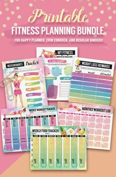 Printable Fitness Planning Bundle For U.S. by ChloesPaperie
