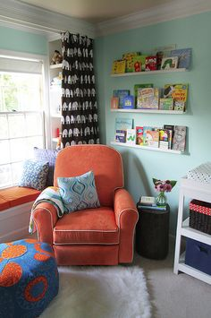 A whole ton of kids reading nooks. I especially love the concept of storing picture books with covers facing out, not spines. Easier for a kid to grab! reading corners, books, color, book nooks, reading spot, reading nooks, read nook, window seats, kids reading
