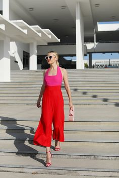 Pink and Red jumpsuit // Atlantic-Pacific is a fashion and personal style site by Blair Eadie. Staud brand, Schutz shoes, Cult Gaia bag