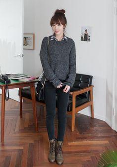 .dark skinny jeans, crewneck sweater, button-up blouse, dark ankleboots