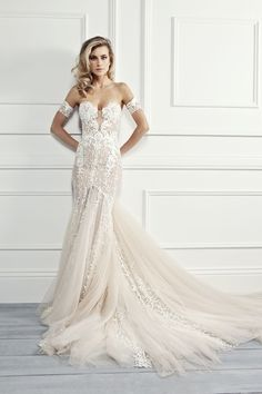"""Pallas Haute Couture """"Paget"""" - Coming soon to Kinsley James Couture Bridal! Beautiful wedding dress gown bride white lace beading sleeves arm strapless train sheer"""