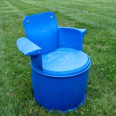 A cool garden chair made out of #recycled 55 gallon barrel
