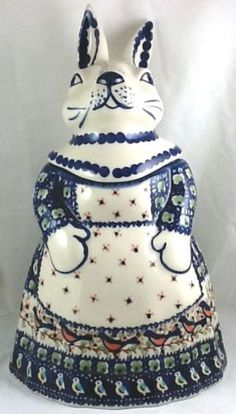 Polish-Pottery-Mama-Bunny-Rabbit-Cookie-Jar-Lmt-Ed-BB-Robin