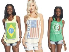 Over the summer I had the opportunity to go to Brazil where I experienced first hand how the World Cup influenced fashion. It was considered very trendy to wear jerseys, shirts with flags, or even just the colors of the country you were supporting. Every window display was covered with green, yellow, blue and the Brazilian flag. Emily S.
